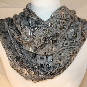 Silver & black scarf with metallic thread, 40x40